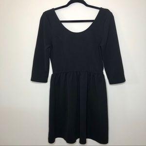 Everly Black Empire Waste Dress Quarter Sleeve